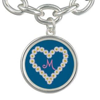 Chic Heart Daisy Chain Monogrammed Charm Bracelet