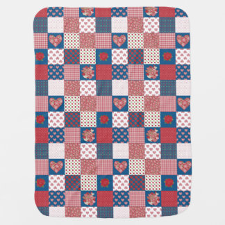 Chic Hearts and Roses Faux Patchwork Baby Blanket