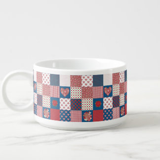 Chic Hearts and Roses Faux Patchwork Chilli Bowl