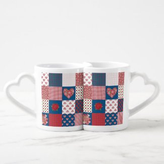 Chic Hearts and Roses Faux Patchwork Lovers' Mugs Lovers Mugs