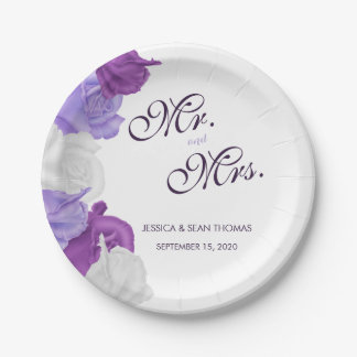 Chic Heirloom Roses Wedding Paper Plate