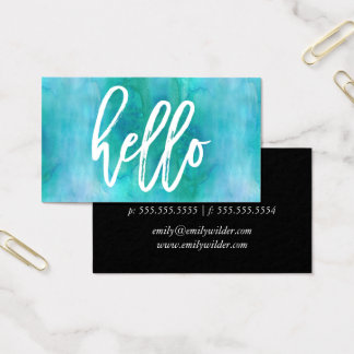 Chic Hello Aqua Watercolor | Business Card