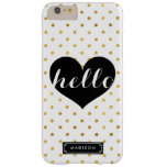 Chic Hello Black Heart | Gold Dots Custom Barely There iPhone 6 Plus Case