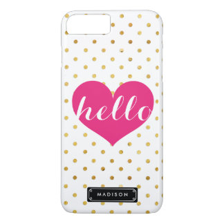 Chic Hello Hot Pink Heart | Gold Dots Custom iPhone 8 Plus/7 Plus Case
