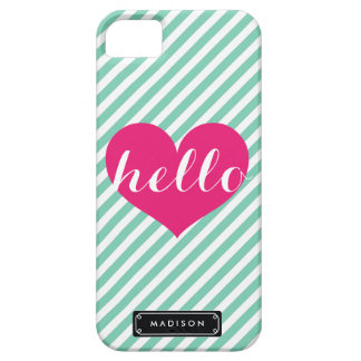 Chic Hello Hot Pink Heart   Mint Stripes Custom iPhone 5 Cases