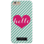 Chic Hello Hot Pink Heart | Mint Stripes Custom Barely There iPhone 6 Plus Case