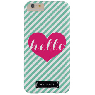 Chic Hello Hot Pink Heart   Mint Stripes Custom Barely There iPhone 6 Plus Case