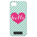 Chic Hello Hot Pink Heart | Mint Stripes Custom iPhone SE/5/5s Case