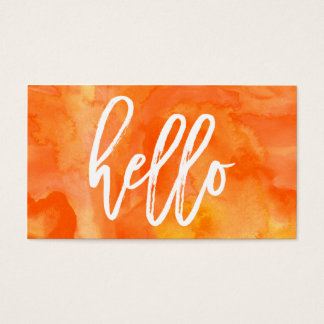 Chic Hello Orange Watercolor | Business Card