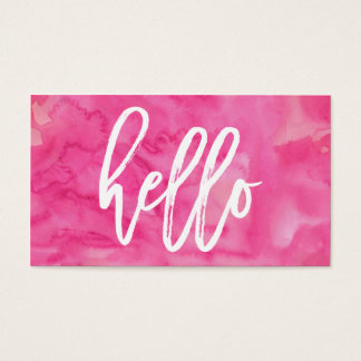 Chic Hello Pink Watercolor | Business Card