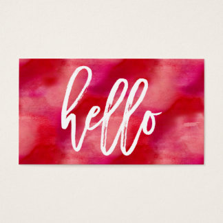 Chic Hello Red Watercolor | Business Card