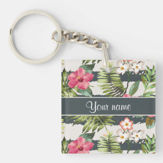 Chic Hibiscus Flowers and Stripes Keychain