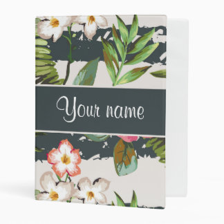 Chic Hibiscus Flowers and Stripes Mini Binder