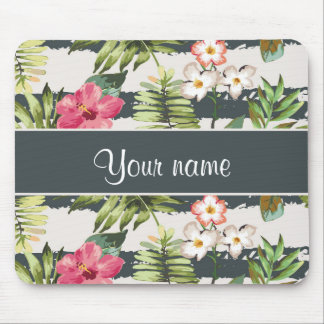 Chic Hibiscus Flowers and Stripes Mouse Pad