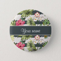 Chic Hibiscus Flowers and Stripes Pinback Button