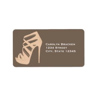 Chic High Heels Shoe Wedding Address Label