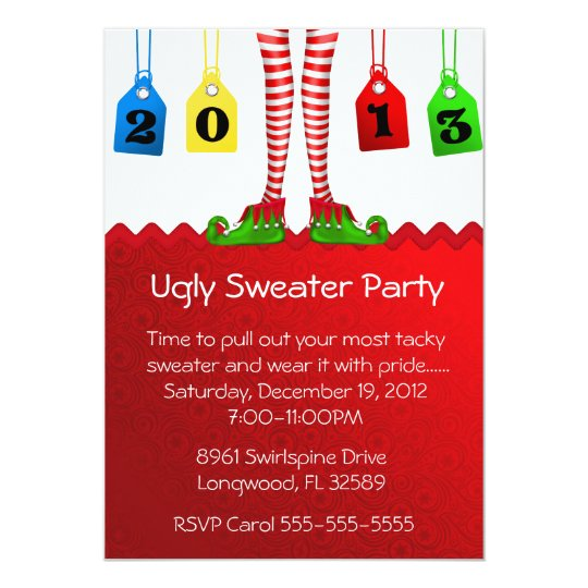 Chic Holiday/Christmas Ugly Sweater Party Card