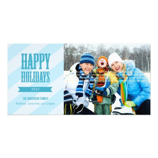 Chic Holiday Photo Card - Blue
