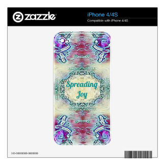 Chic Holiday Season Green 'Spreading Joy' Decals For iPhone 4