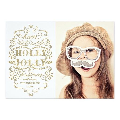 Chic Holly Jolly Christmas Holidays Photo Cards