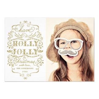 "Chic Holly Jolly Christmas Holidays Photo Cards 5"" X 7"" Invitation Card"