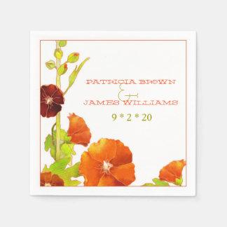 Chic Hollyhocks Red + White Wedding Paper Napkin