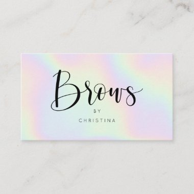 Chic holographic rainbow unicorn brows script business card