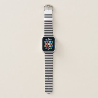 Chic Horizontal Gray Striped - Apple Watch Band