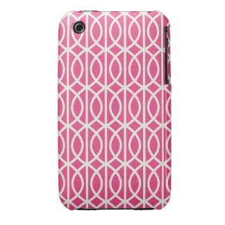 Chic Hot Pink and White Moroccan Trellis Pattern iPhone 3 Cases