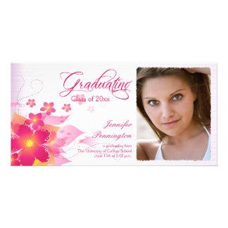Chic hot pink floral photo graduation announcement picture card