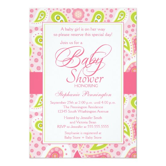 Chic hot pink green paisley baby shower invitation zazzle chic hot pink green paisley baby shower invitation filmwisefo