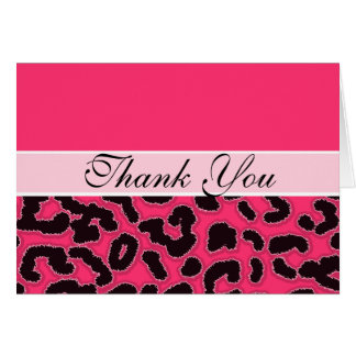 Chic Hot Pink Leopard Animal Print Greeting Cards
