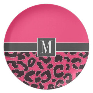 Chic Hot Pink Leopard Animal Print Party Plate