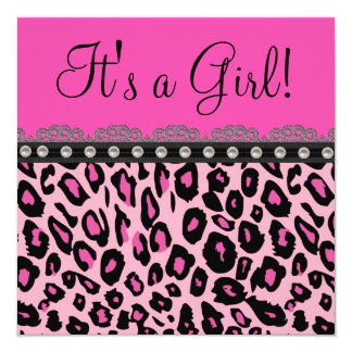 Chic Hot Pink Leopard Baby Shower Card