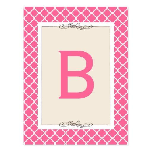Chic Hot Pink Trellis Pattern Bunting Banner Card Postcard