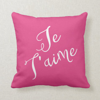Chic Hot Pink & White Je T'aime French Typography Throw Pillow