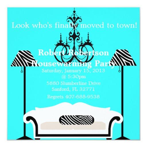 """Chic Housewarming invitation 5.25"""" Square Invitation Card"""