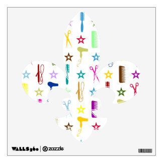 Chic Hues Multicolor Salon Tools Fleur de Lis Room Stickers