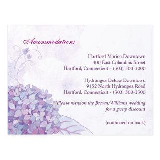 Chic Hydrangeas Wedding Accommodation + Direction Postcard