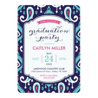 Chic Ikat Paisley Graduation Party Invitation