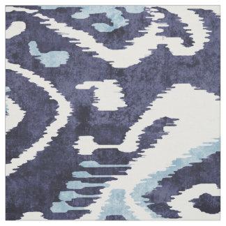 Chic indigo blue and white ikat tribal patterns fabric