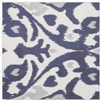 Chic indigo blue grey white ikat tribal patterns fabric