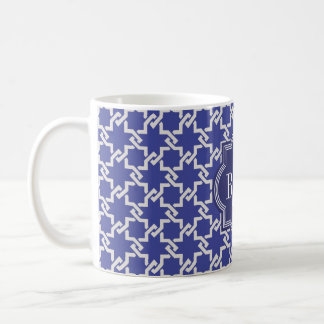 Chic indigo interlocking pattern monogram coffee mug