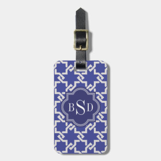 Chic indigo interlocking pattern monogram luggage tag