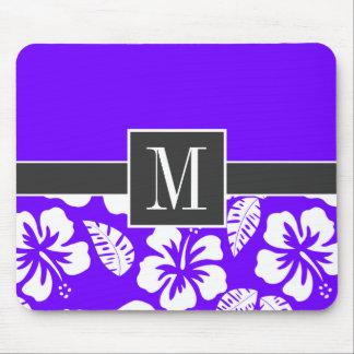 Chic Indigo, Purple Hawaiian Tropical Hibiscus Mouse Pad