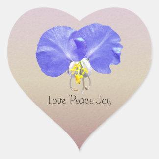 Chic Inspirational Floral Love Peace Joy Rose Gold Heart Sticker