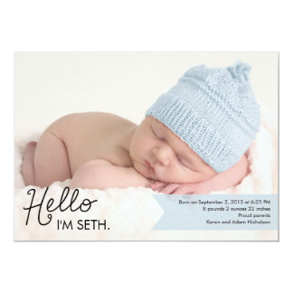 "Chic Introduction Birth Announcement - Blue 5"" X 7"" Invitation Card"