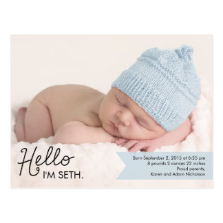 Chic Introduction Birth Announcement - Blue Postcard