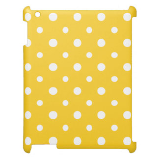 Chic iPad Savvy Case: White Jumbo Polkas on Yellow Cover For The iPad