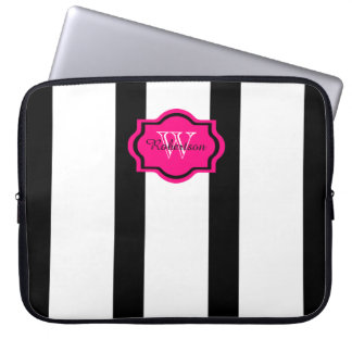 CHIC IPAD SLEEVE, HOT PINK ON BLACK/WHITE STRIPES COMPUTER SLEEVES